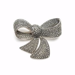 925 Sterling & Marcasite Large Bow Signed TH NF